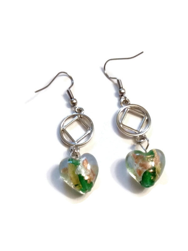 Clear Glass With Green Accent Heart Dangle Earrings - NA