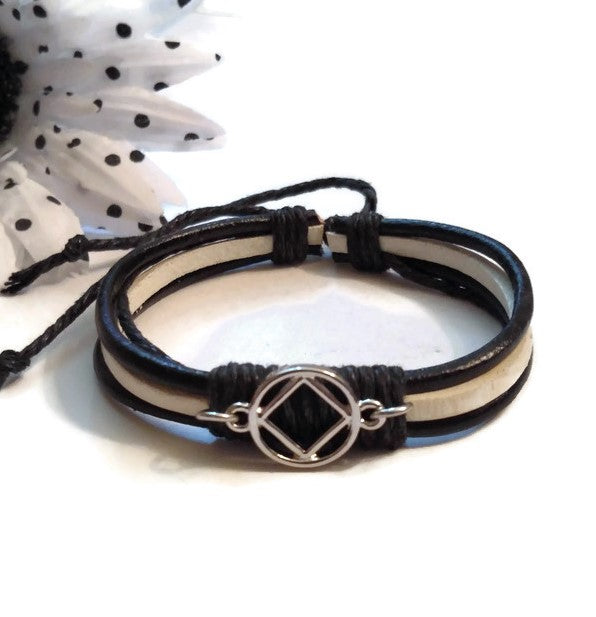 Leather Adjustable NA Bracelet - Black & White