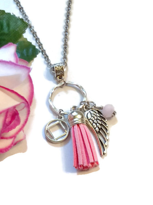 Tassel & Angel Wing Charm Necklace NA - Pink