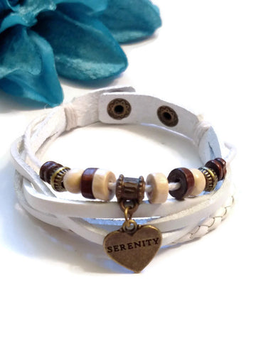 Leather Bronze Serenity Bracelet Snap Closure - White