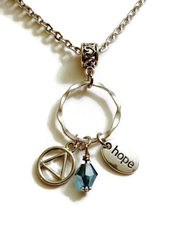 Hope Charm Holder Necklace Alcoholics Anonymous