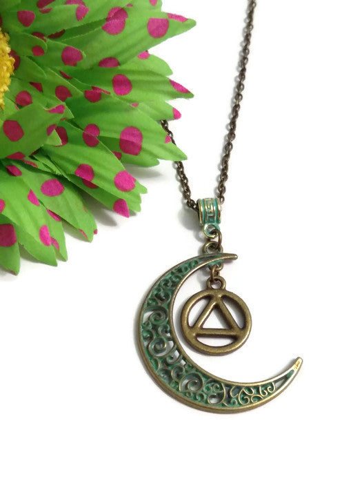 Moon Dangle Charm Necklace Bronze Patina AA