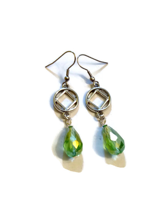 Lime Green Teardrop NA Earrings