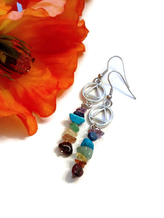 Multi Color Stone Rainbow Earrings - AA