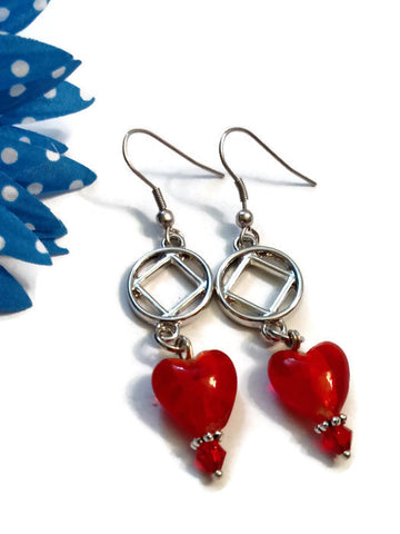 Bright Red Glass Heart Dangle Earrings - NA