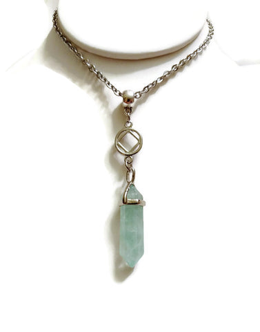 Green Fluorite Crystal Drop Necklace Narcotics Anonymous