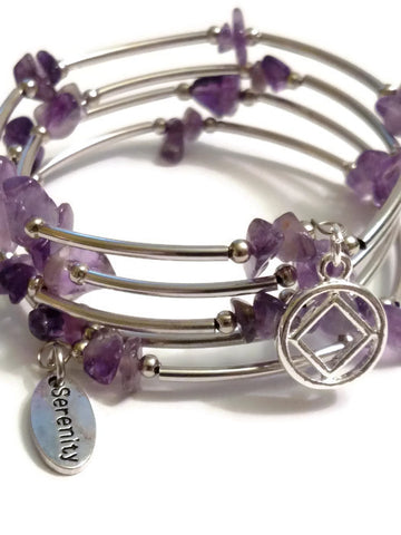 Amethyst Wire Wrap Bracelet Narcotics Anonymous