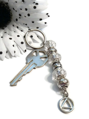 Clear Faith Love Hope Crystal Keychain - AA