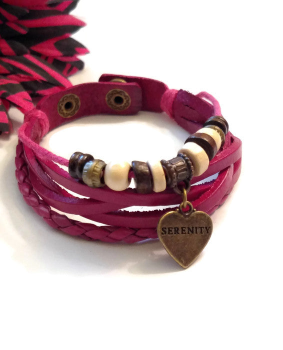 Leather Bronze Serenity Bracelet Snap Closure - Pink