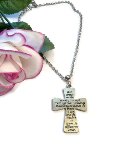 Serenity Prayer Cross Necklace 12 Step Recovery