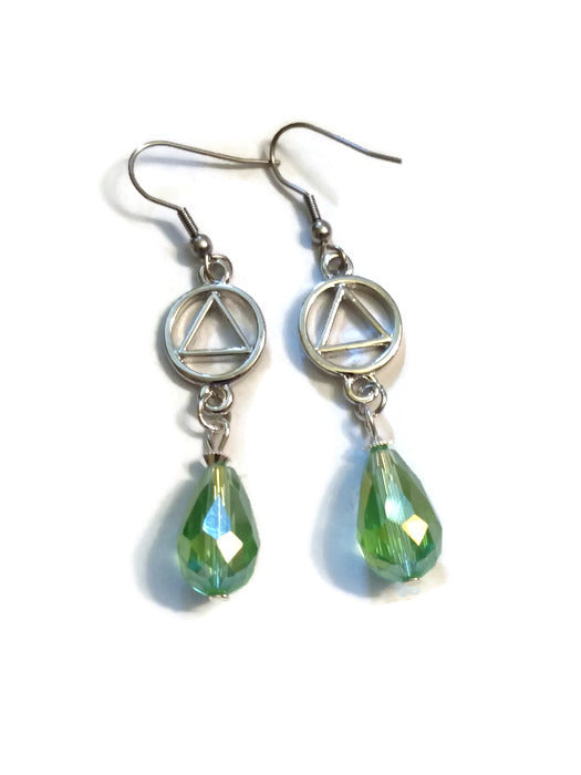 Lime Green Teardrop AA Earrings