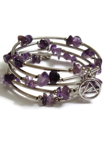 Amethyst Wire Wrap Bracelet Alcoholics Anonymous