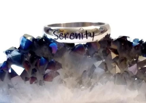 Crystal Serenity Stainless Steel Ring