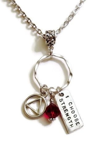 I Choose Strength Charm Holder Necklace Alcoholics Anonymous