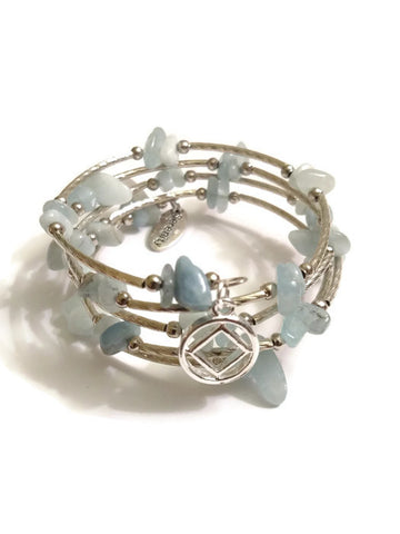 Aquamarine Wire Wrap Bracelet Narcotics Anonymous