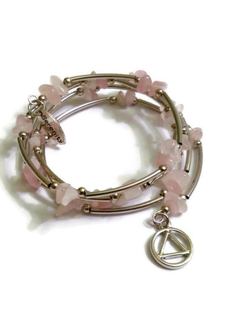 A Rose Quartz Wire Wrap Bracelet Alcoholics Anonymous