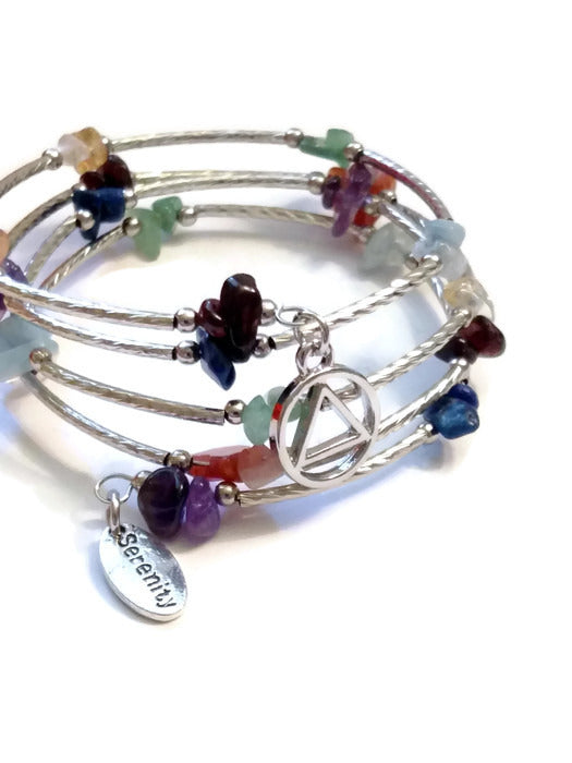 A Multi Colored Stone Wire Wrap Bracelet - AA
