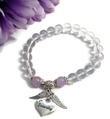 Clear & Lavender Angel Wings Stretch Bracelet - Serenity
