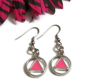 Pink Enamel AA Earrings Alcoholics Anonymous