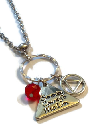AA Triangle Serenity Courage Wisdom Charm Necklace