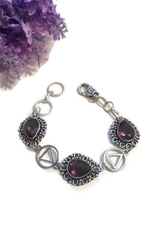 Amethyst Colored Crystal Bracelet  AA