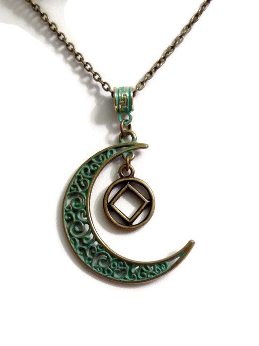 Moon Dangle Charm Necklace Bronze Patina NA