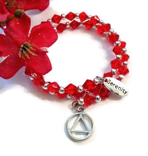 Wire Wrap Sparkly Crystal Bracelet Alcoholics Anonymous - Red