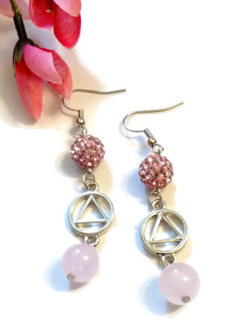 SALE Pink Bling & Rose Quartz Earrings AA