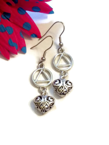 Filigree Heart Dangle Earrings AA