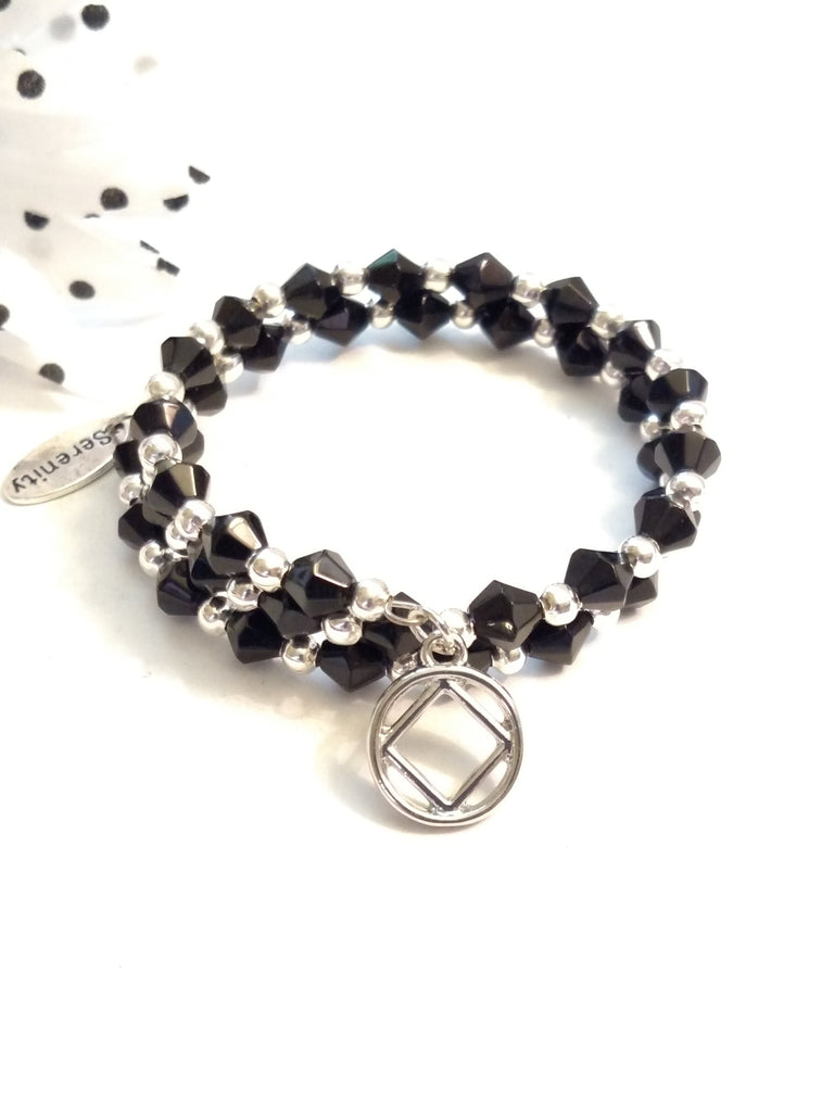Wire Wrap Sparkly Crystal Bracelet Narcotics Anonymous - Black