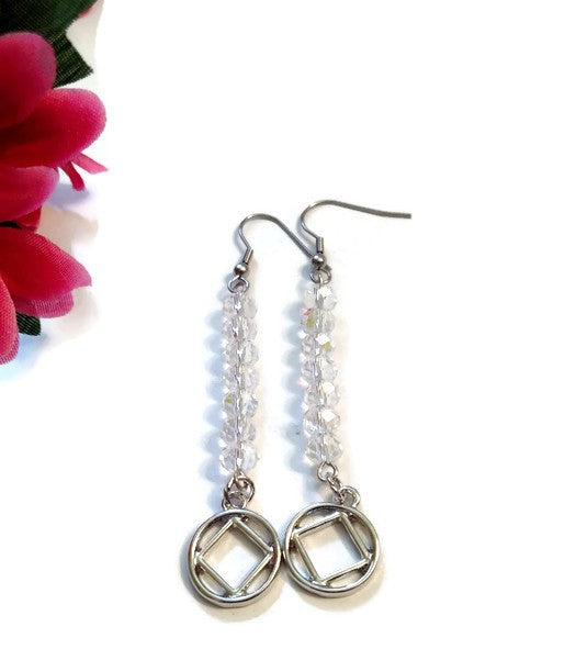 Sparkling Clear Crystal Dangle Earrings - NA