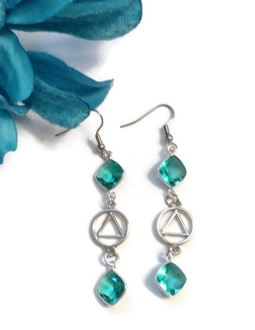 Teal Crystal Dangle Earrings AA