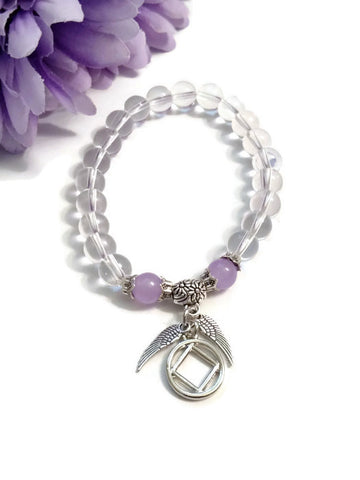 Clear & Lavender Angel Wings Stretch Bracelet - NA