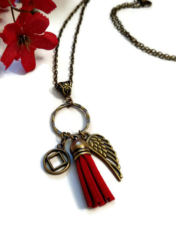 Bronze Wing & Suede Tassel Charm Necklace NA - Dark Red