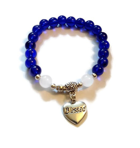 Blue Glass Beaded Stretch Bracelet - Blessed Heart