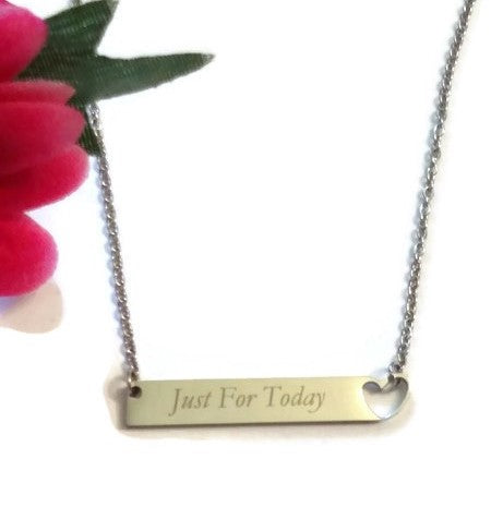 Just For Today Stainless Steel Bar  Necklace