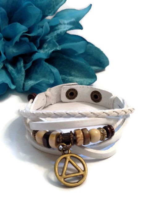Leather Bronze AA Bracelet Snap Closure - White