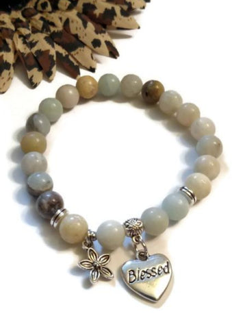 Natural Amazonite Stretch Bracelet - Blessed Heart