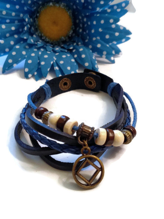 Leather Bronze NA Bracelet Snap Closure - Blue