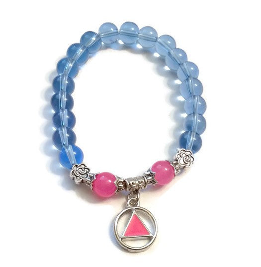 Pink & Blue Glass Beaded Stretch Bracelet - AA