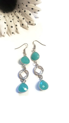 Sparkly Blue Chalcedony Earrings - NA