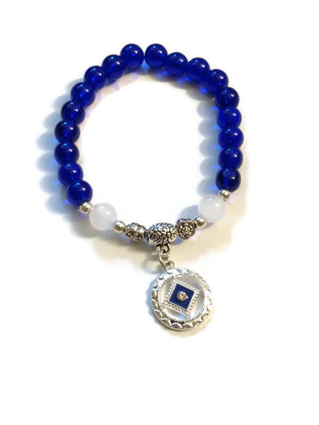 Blue Glass Beaded Stretch Bracelet - NA