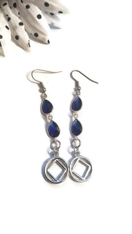 Sapphire Blue Crystal Earrings - NA