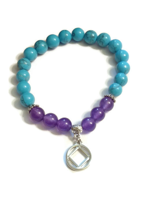 Natural Amethyst and Synthetic Turquoise Bracelet - NA