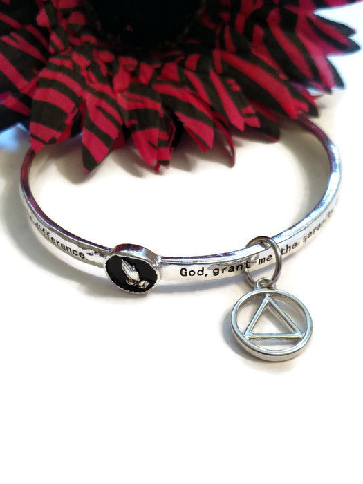Serenity Prayer Praying Hands Bangle Bracelet with AA Charm - Silver Tone