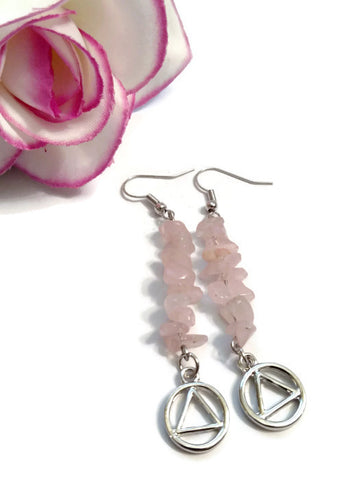 Rose Quartz Earrings Alcoholics Anonymous