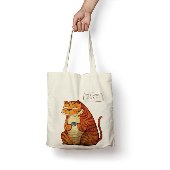 """I Almost Give A Fuck"" Tote Bag by KAA illustration"