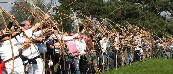 ILAA members shooting english longbows at a clout target