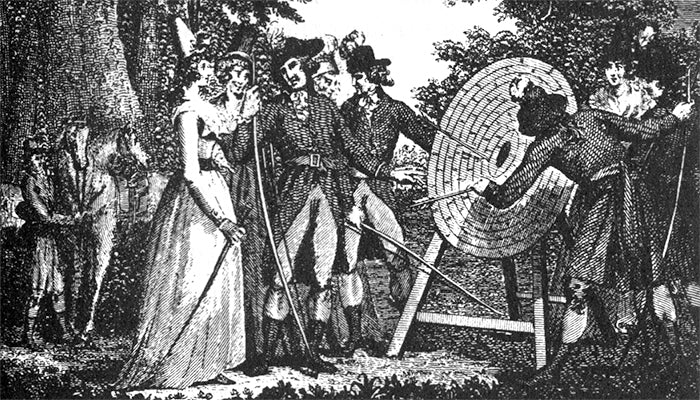 straw archery targets being used in 1791