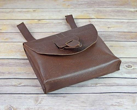 Archers Equipment - Brown Leather Pouch Bag With Leather Fastening